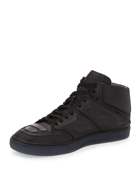 Alejandro Ingelmo Exotron Leather High-Top Sneaker, Black