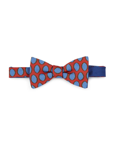 Massimo Bizzocchi Pre-Tied Polka-Dot Bow Tie, Red/Blue