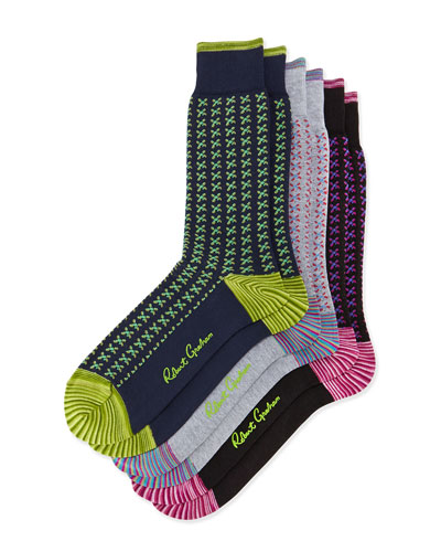 Paipo 3-Pack Printed Socks, Black/Navy/Gray