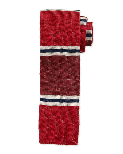 Multi-Stripe Knit Silk Tie, Multicolor/Red