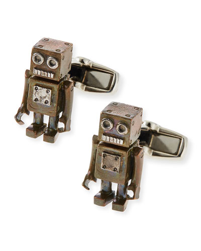 Antiqued Robot Cuff Links