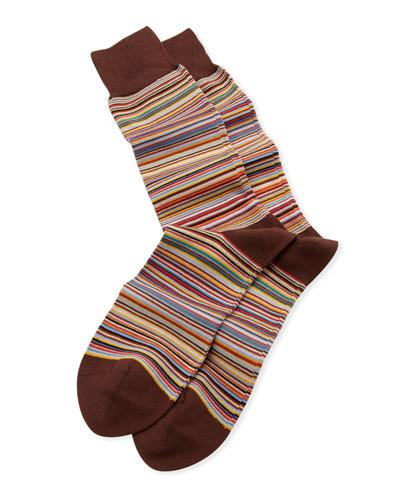 Fine Multi-Stripe Socks, Brown