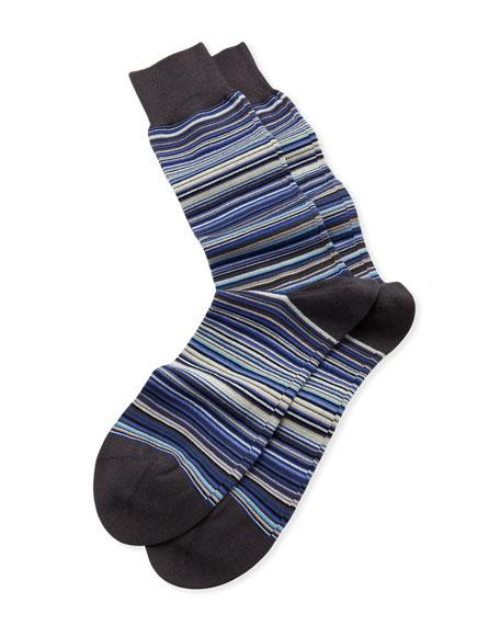 Fine Multi-Stripe Socks, Navy