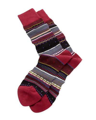 Interior Stripe Socks, Red