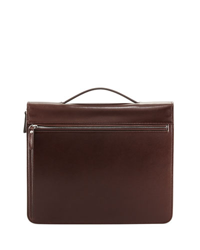 Leather Portfolio Case with Handle, Dark Brown Compare Price