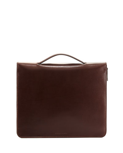 Leather Portfolio Case with Handle, Dark Brown