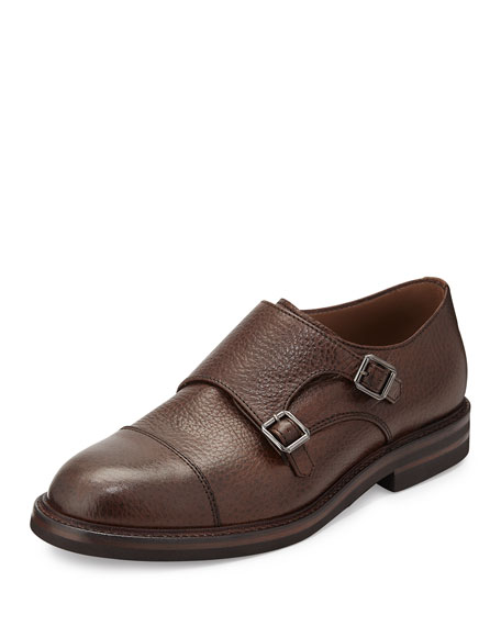 Brunello Cucinelli Leather Monk-Strap Loafer, Tan