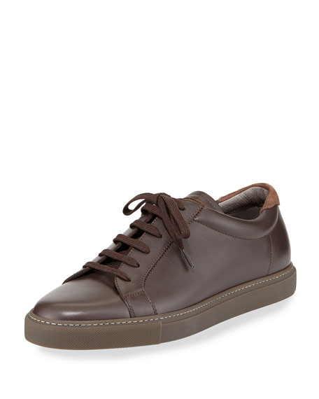 Brunello Cucinelli Lace-Front Leather Sneaker, Brown