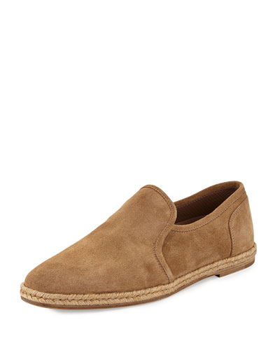 Suede Slip-On Espadrille Loafer, Light Brown