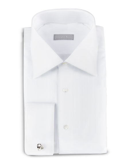 Textured Stripe Dress Shirt, White