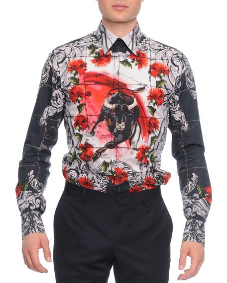 Dolce Gabbana Button Down Mosaic Bull Print Shirt White