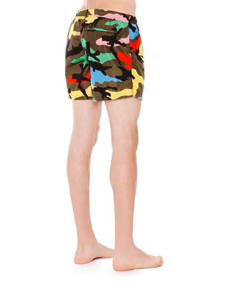 Bright Camo-Print Swim Trunks