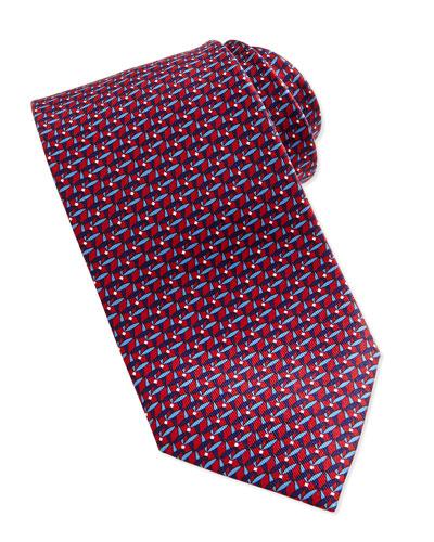 Chain Link-Print Tie, Blue