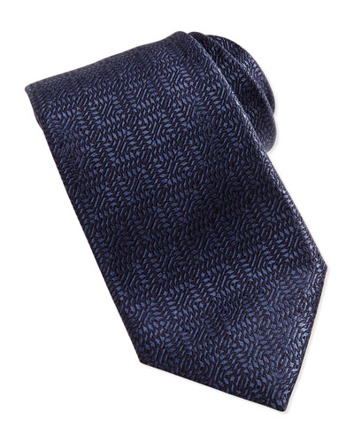 Woven Tonal Squares Tie, Navy