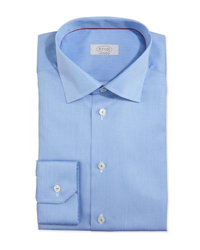 Fine-Stripe Dress Shirt, Light Blue