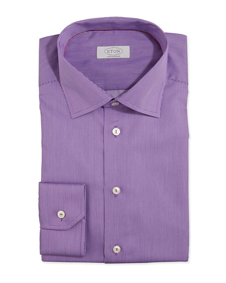 Eton fine stripe dress shirt purple for Purple striped dress shirt