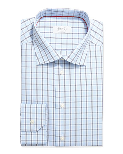 Contemporary-Fit Windowpane Dress Shirt, Light Blue/Navy