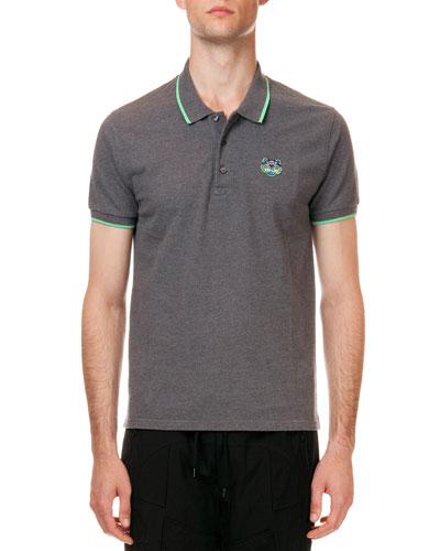Tipped Tiger Short Sleeve Pique Polo, Gray/Green
