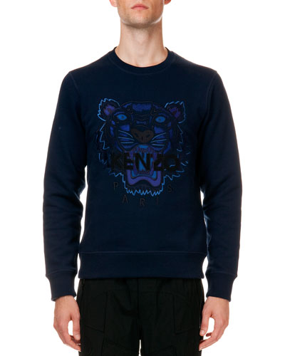 Tiger Logo Cotton Sweatshirt, Navy