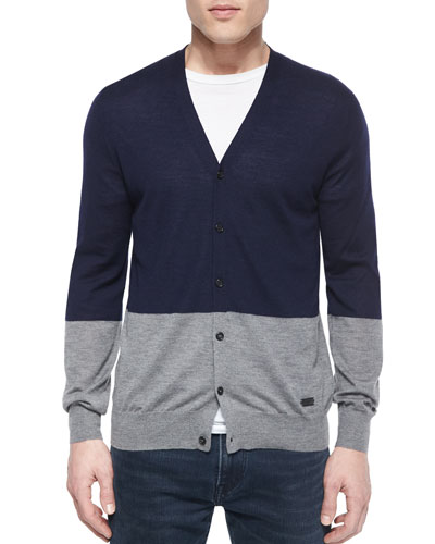 Colorblock Cashmere-Blend Cardigan, Navy/Gray