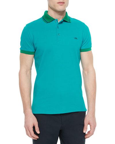 Short-Sleeve Striped-Collar Polo Shirt, Teal