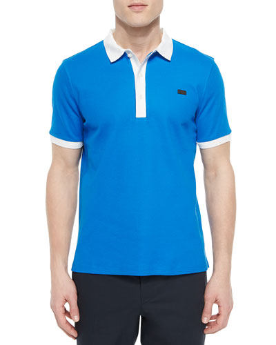 Short-Sleeve Contrast-Collar Polo Shirt, Blue