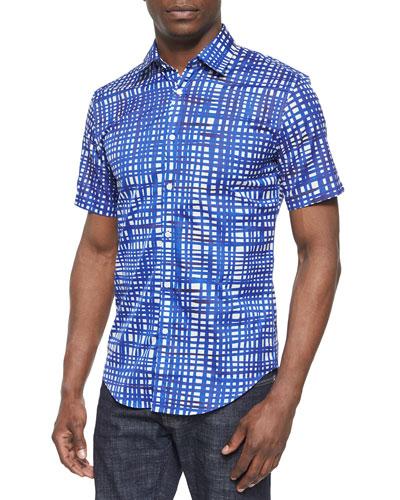 Painted Check Short-Sleeve Shirt, Indigo