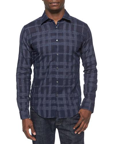 Johnny-Collar Tonal Check Shirt, Indigo