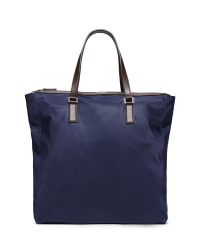 Men's Large Zipper Tote Bag, Indigo