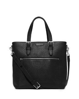 Large Pebbled Leather Tote Bag, Black