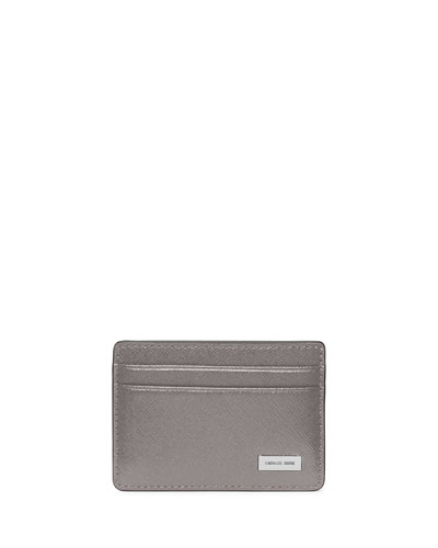 Saffiano Leather Card Holder, Gray