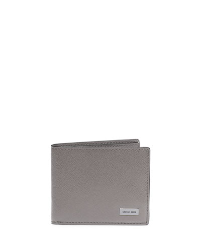 Slim Saffiano Leather Bifold Wallet, Gray