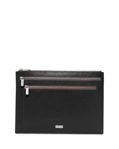 Multi-Zip Saffiano Leather Pouch, Black