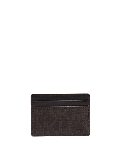 Shadow-Print Faux-Leather Card Case, Brown