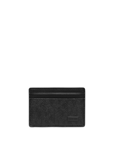 Shadow-Print Faux-Leather Clip Card Case, Black