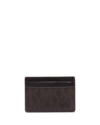 Shadow-Print Faux-Leather Clip Card Case, Brown