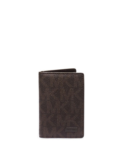 Logo-Print Bifold Wallet, Brown
