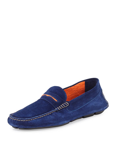 Manolo Blahnik	 Roadster Men's Suede Driver Loafer, Dark Blue