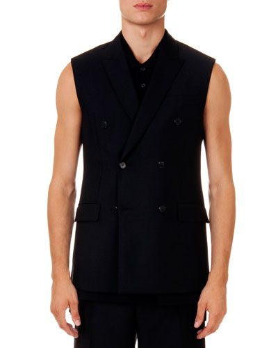 Sleeveless Double-Breasted Jacket