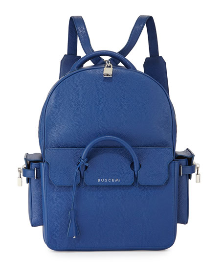 Buscemi PHD Large Leather Backpack, Blue