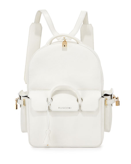 Buscemi PHD Large Leather Backpack, White