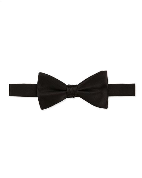 Pre-Tied Satin Bow Tie, Black