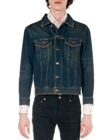 Real Blue Denim Jacket Saint Laurent Sneakernews Online Cool gYYiXVP