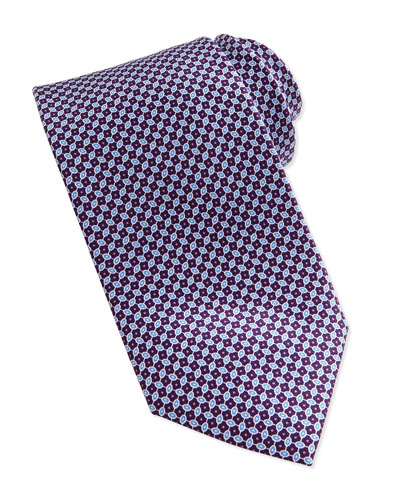 Linked Ovals Neat Tie, Burgundy