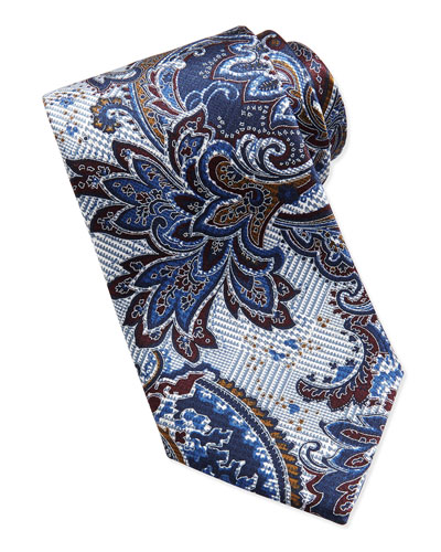 Paisley Glen Plaid Tie, Blue