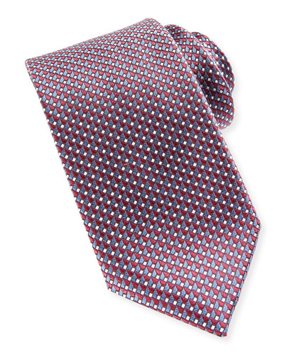 Woven Micro Basket Dot Tie, Red/Blue