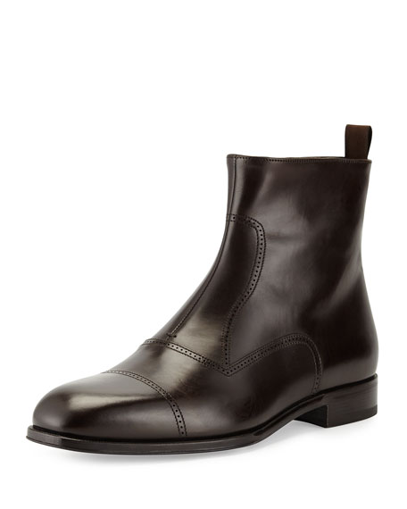 Giorgio Armani Leather Brogue Ankle Boot, Dark Brown