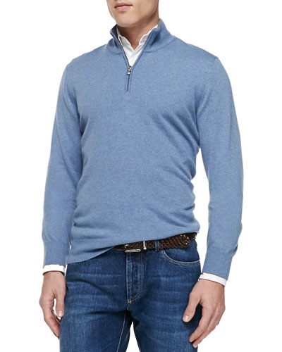 2-Ply Cashmere Half-Zip Pullover, Blue