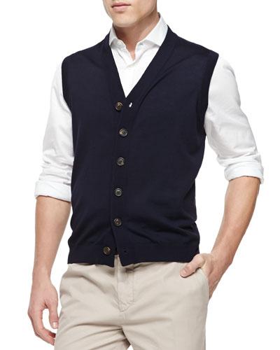 Button-Front Cardigan Vest, Navy