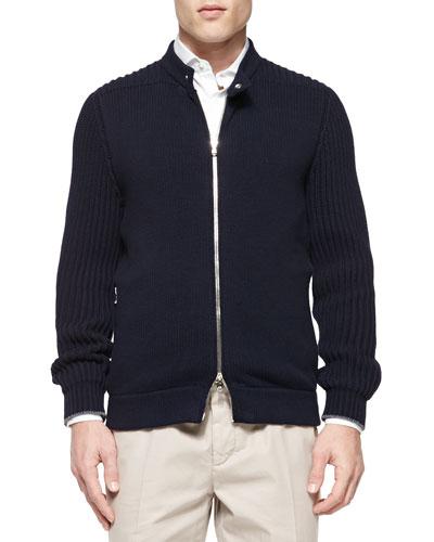 Chunky-Knit Full-Zip Sweater, Navy
